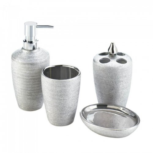Image for Silver Shimmer Bath Accessory Set