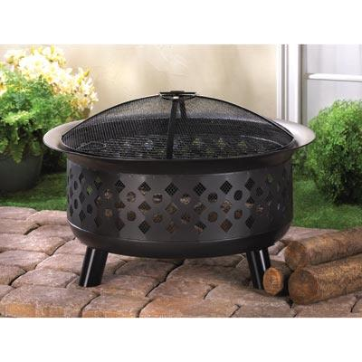 outdoor patio wood burning iron pit firebowl