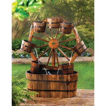 rustic country wagon wheel wood outdoor garden decor electric water - Country Outdoor Decor