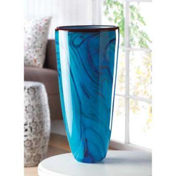 Blue Swirl Glass Vase