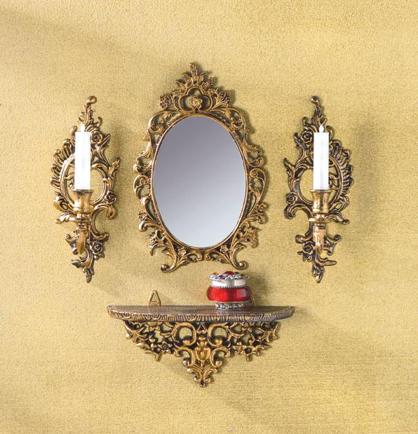 Ornate gold tone baroque wall mirror shelf and sconces for Plastic baroque mirror