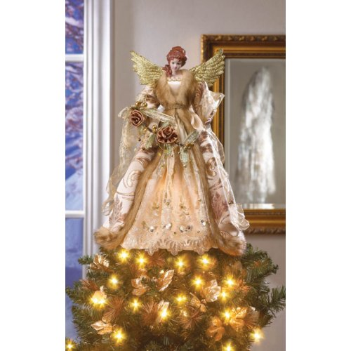 Beautiful Golden Christmas Angel Doll Tree Topper From Sunrise Wholesale Dropshipping